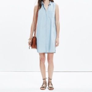 MADEWELL Chambray Sleeveless Shirt Dress Small